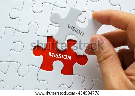 Hand holding piece of jigsaw puzzle with word VISION MISSION. Royalty-Free Stock Photo #434504776