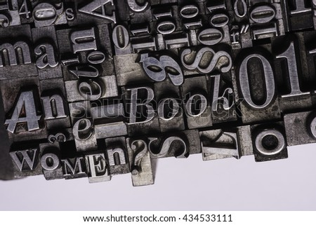 Metal Letterpress Types. A background from many historic typographical letters in black and white with white background.  #434533111