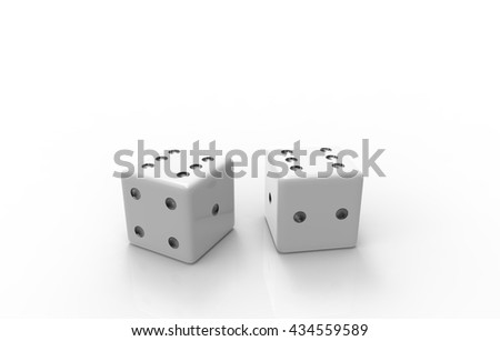 3D rendering of white dice with nice background color #434559589