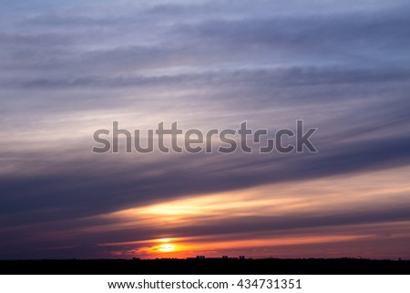 Colorful sunset with clouds in the evening #434731351