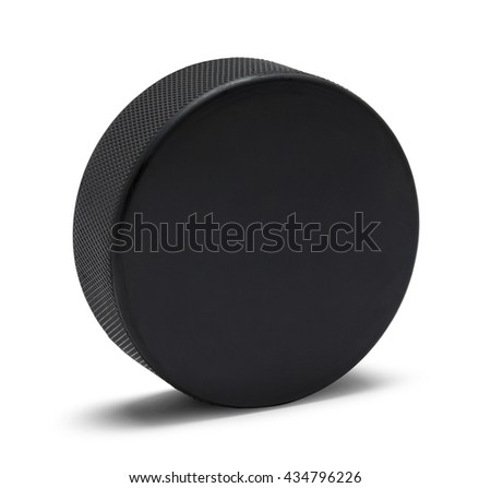 Black Rubber Hockey Puck With Copy Space Isolated on White Background. #434796226
