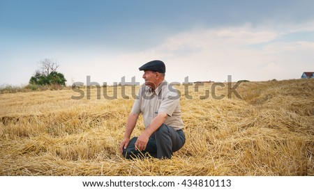 Farmer sitting in the field, waiting for his crop #434810113