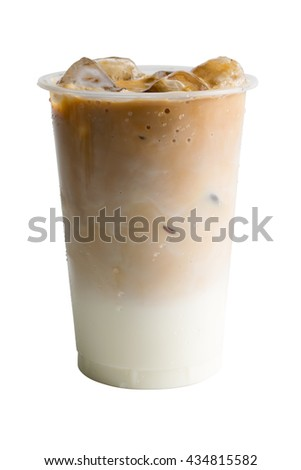 Ice coffee with milk isolated on white background #434815582