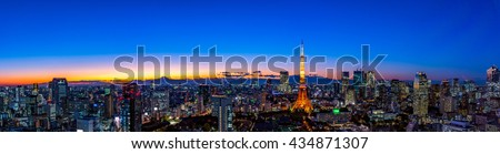 Panorama picture of TOKYO cityscape at dusk with Tokyo tower