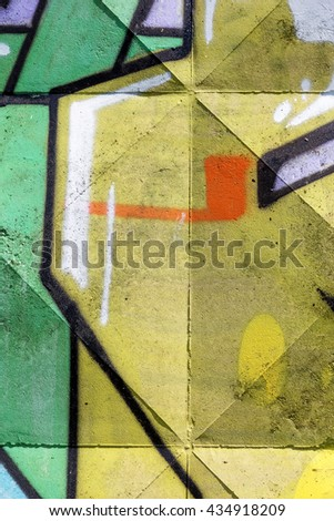 Beautiful street art of graffiti. Abstract color creative drawing fashion on walls of city. Urban contemporary culture. Title paint on walls. Culture youth protest. ABSTRACT PICTURE #434918209