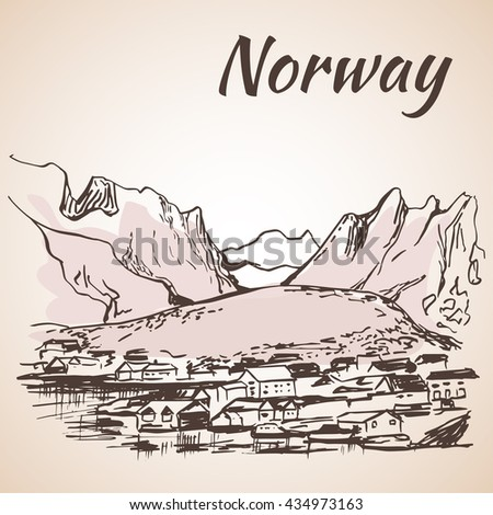 Norway - harbor, waterfront. Sketch, Isolated on white background #434973163