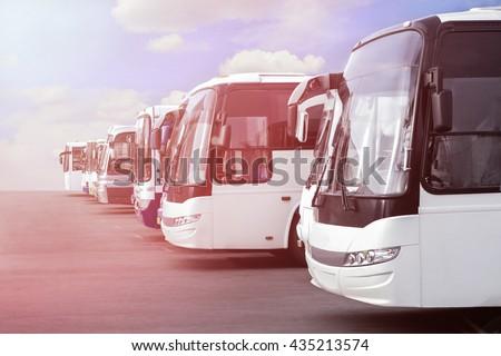 big tourist buses on parking #435213574