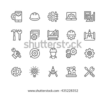 Simple Set of Engineering Related Vector Line Icons.  Contains such Icons as Manufacturing, Engineer, Production, Settings and more.  Editable Stroke. 48x48 Pixel Perfect.  #435228352
