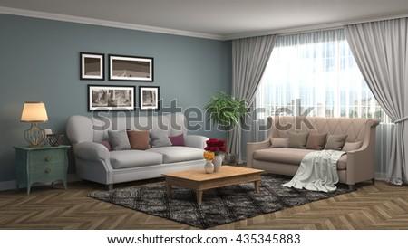 interior with sofa. 3d illustration #435345883