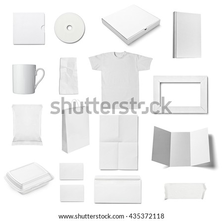 collection of  various white business print templates on white background. each one is shot separately #435372118