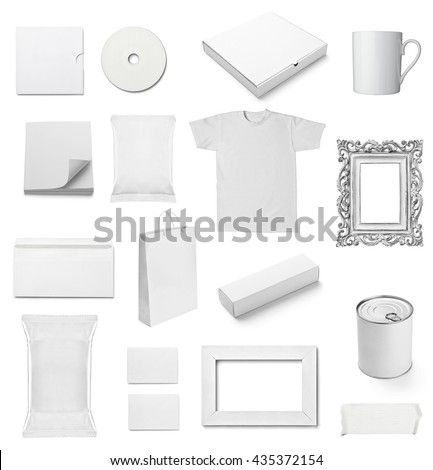 collection of  various white business print templates on white background. each one is shot separately #435372154