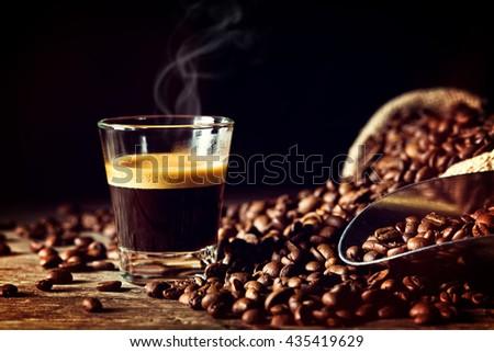 real espresso and coffee grain #435419629