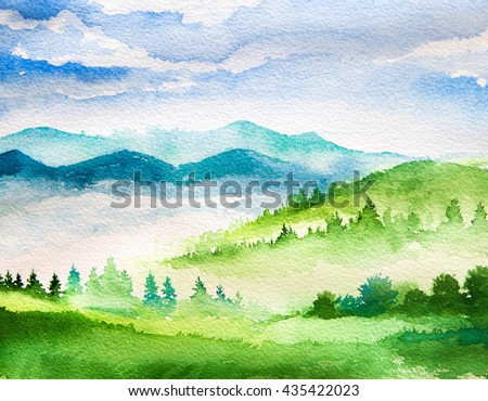 Watercolor mountains #435422023