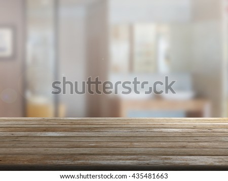 3D rendering Close Up wood table with blur background #435481663