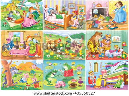 Set of Nine fairy tales. Fox, cat and the cock. Little Red Riding Hood. Cinderella. Fox and the stork. Ugly duckling. The three bears. Three little pigs. Thumbelina. Princess and the pea. Cartoon #435550327