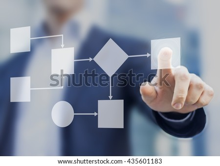 Business process and workflow automation with flowchart, businessman in background #435601183
