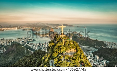 Aerial view of Botafogo Bay from high angle, Rio De Janeiro Royalty-Free Stock Photo #435627745