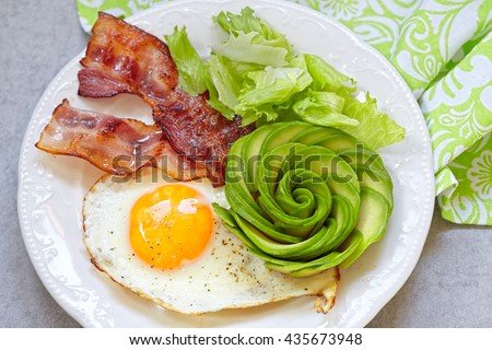 Fried Egg, Bacon and Avocado Rose. Low carb high fat breakfast Royalty-Free Stock Photo #435673948