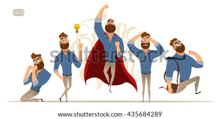 Business man characters. Business mans in casual clothes. Emotions and expressions Royalty-Free Stock Photo #435684289