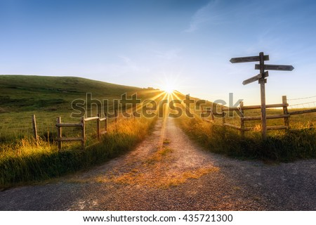 wooden signpost near a path and sunr ays Royalty-Free Stock Photo #435721300