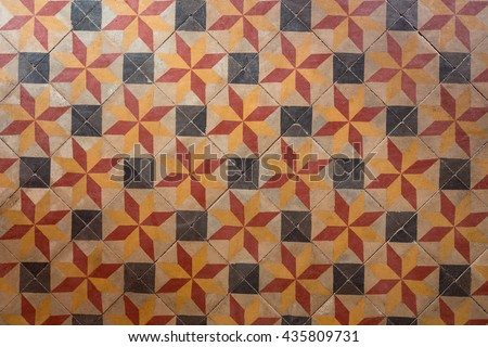 Ancient style with seamless pattern floor tiles with red black and orange colors.
