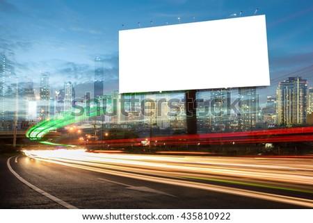 billboard blank for outdoor advertising poster or blank billboard at night time for advertisement. street light #435810922