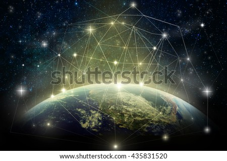 Part of earth with network line and point on the star and Milky Way background, Internet Network concept, Elements of this image furnished by NASA