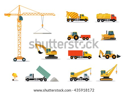 Construction machinery set design flat style isolated on white background. Tall crane lifts the concrete slab or releases. Heavy machine concrete mixer, loader and crawler crane. Vector illustration Royalty-Free Stock Photo #435918172