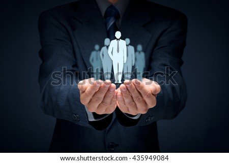 Influencer, opinion leader, team leader, CEO, market leader, and another business leading concepts. Royalty-Free Stock Photo #435949084
