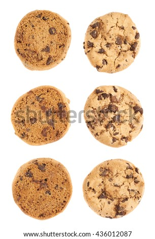 Pile of round cookies with the pieces of chocolate isolated over the white background #436012087