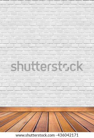 loft style, old interior room with white brick wall and grunge wood floor texture #436042171