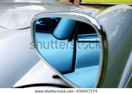 Closeup look of a modern car mirror #436047574