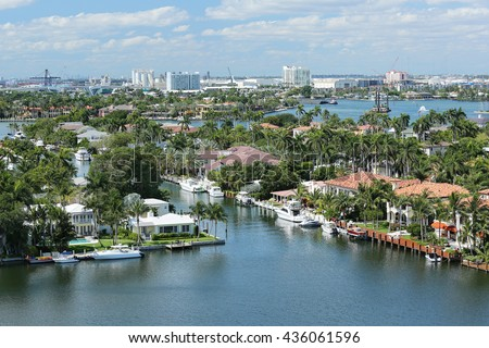 Aerial view of Fort Lauderdale's skyline, waterfront homes and the Intracoastal Waterway. #436061596