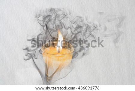 Smoke which is forming picture of candle with light