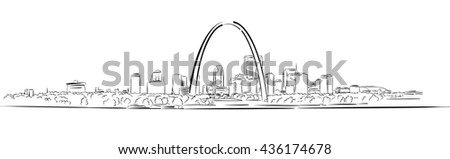 St Louis, Missouri, Hand-drawn Outline Sketch, Vector Artwork