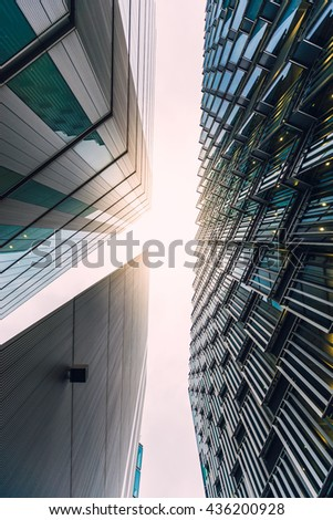 LONDON - NOV 11: modern office buildings near the London City Hall on november 10, 2015 in London. London is one of the most important cultural, finance and trade centres in the world. #436200928