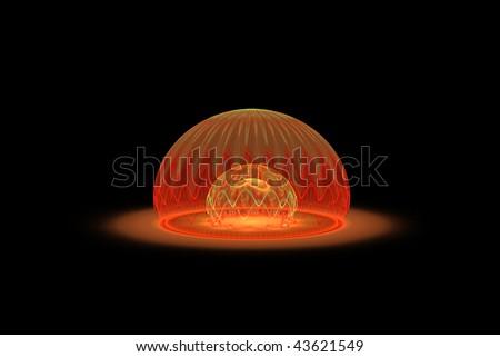 Delicate fantasy 3D bubble over black background #43621549