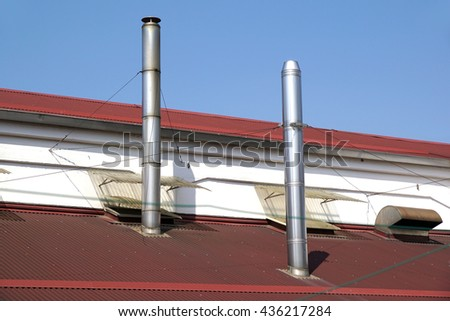 chimneys on the roof #436217284