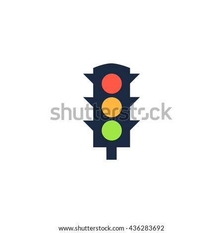 Simple Traffic light. Color simple flat icon on white background