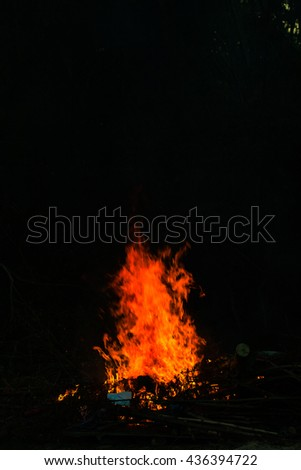 Flames in a bonfire,The bright flames #436394722