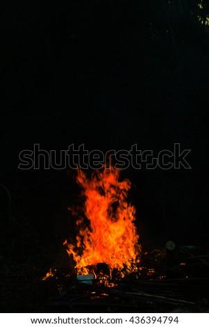 Flames in a bonfire,The bright flames #436394794