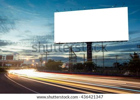 billboard blank for outdoor advertising poster or blank billboard at night time for advertisement. street light #436421347