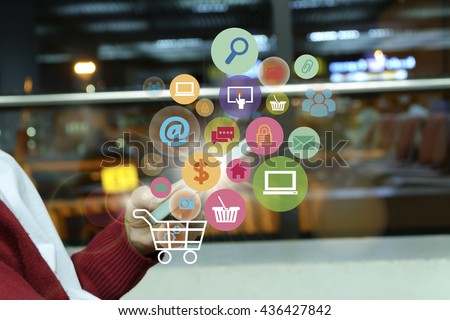 shopping cart with application software icons on mobile , business concept, shopping online concept , business idea #436427842