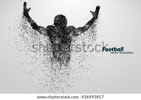 silhouette of a football player from particle. Background and text on a separate layer, color can be changed in one click. Rugby. American football. Similar images can be found in the portfolio.