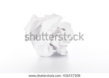 Crumpled paper ball on white background #436557208