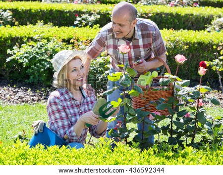 Charming senior couple looking after flowers in the garden #436592344