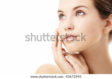 Portrait of the attractive girl without a make-up, isolated #43672945