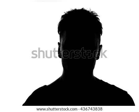 Hidden face in the shadow.male person silhouette #436743838