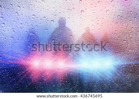 Police crime scene, rain background with police lights