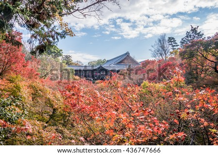 Kyoto, Japan- November 28,2015 : Unidentified tourists visit Tofukuji Temple to celebrate the autumn maple leave festival in Kyoto, Japan. #436747666